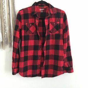 Arizona Jeans Buffalo Plaid Fleece Button Down